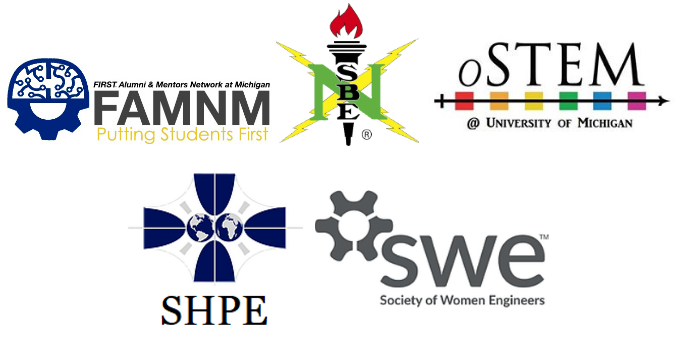 Logos for FAMNM, NSBE, oSTEM, SHPE, and SWE